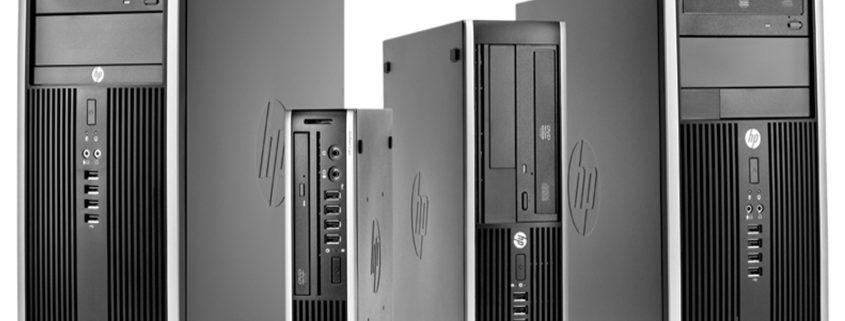 Verschillende desktop computers van HP